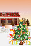 Christmas downtown landscape, a tree and a shop in snowfall - Creative illustration eps10 Stock Photos