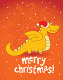 Christmas dragon. Yellow smiling christmas dragon - vector illustration Royalty Free Illustration