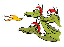 Christmas dragons. Merry illustration - Dragon celebrates Christmas Stock Illustration