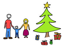 Christmas drawing. Happy family: mother, father and child. Christmas at home - Christmas tree and gifts. Child-like illustration Royalty Free Stock Images