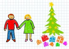 Christmas drawing Royalty Free Stock Photos