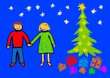 Christmas drawing Stock Photos