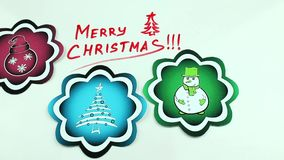 Christmas congratulation and color pictures. The Christmas drawing made a marker on white stock video footage