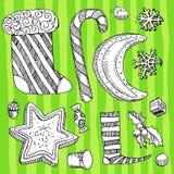 Christmas drawing objects. Vector hand-drawn xmas symbols Stock Photo