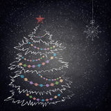 Christmas drawing tree on the blackboard background Stock Photo