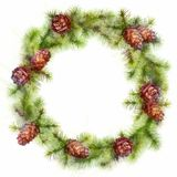 Christmas Drawing Tree Branches Wreath Royalty Free Stock Photography