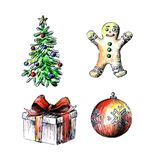 Christmas drawings on a white background. Christmas tree. Cookie in the form of man. Gift. Christmas ball. Painted by hand, royalty free illustration