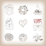 Christmas  drawn bundle Stock Photography