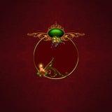 Christmas dream. Elegant Candle, Christmasballs, Ribbons, red Berries and Mistletoe Background Stock Photo