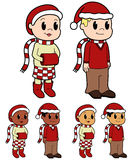 Christmas dressed kids Stock Photos