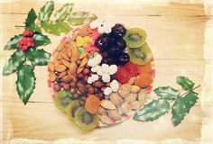 Christmas dried fruit,vintage Stock Image