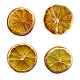 Christmas Dried orange fruit isolated set. Dried orange fruit isolated set packaging juice design composition on white background illustration. Four dry citrus Stock Images