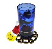 Christmas drink. Smiley santa enjoying christmas drink Stock Image