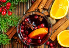 Christmas drink. With fruits and aroma spice Royalty Free Stock Photography