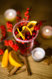 Christmas drink. Christmas composition with hot spiced wine Royalty Free Stock Photography