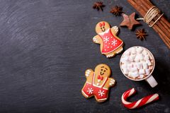 Christmas drink. Cup of hot chocolate with marshmallows, top vie. Christmas drink. Cup of hot chocolate with marshmallows on dark table, top view royalty free stock image
