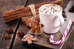 Christmas drink. Cup of hot chocolate with marshmallows Royalty Free Stock Photos