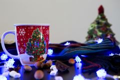 Christmas Drink Display. Christmas Tree Cup with Ingredients on Display Royalty Free Stock Images