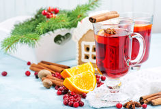 Christmas drink. With fruits and aroma spice Royalty Free Stock Image