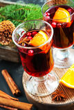 Christmas drink. With fruits and aroma spice Stock Images