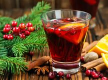 Christmas drink. With fruits and aroma spice Stock Photo