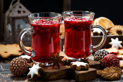 Christmas drink hot cranberry tea and cookies Stock Image