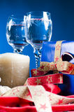Christmas drinks and presents Stock Photos