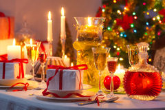Christmas drinks and presents for long winter nights Stock Photo