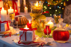 Christmas drinks and presents for long winter nights Royalty Free Stock Image