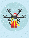 Christmas drone. Fast delivery Christmas gift by drone in blue snowy sky, vector royalty free illustration
