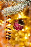 Christmas drum on fir tree branch Stock Photo