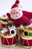 Christmas Drum & Santa. Christmas drum and santa clause ornaments Stock Photo