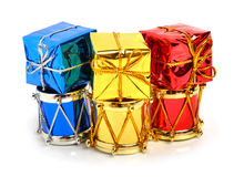 Christmas drums, baubles, toys and christmas hat Stock Image