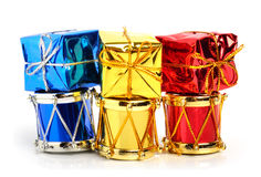Christmas drums, baubles and toys Stock Photo