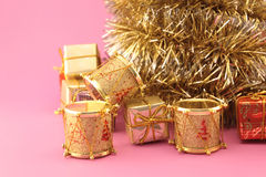 Christmas, drums and gifts Royalty Free Stock Photos
