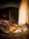 Appetizing baked duck stuffed with buckwheat and apples. stock photo