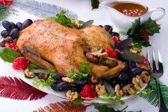 Christmas duck on holiday table Stock Photos