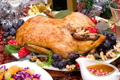 Christmas duck on holiday table Royalty Free Stock Images