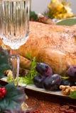 Christmas duck on holiday table Stock Photo