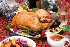 Christmas duck on holiday table Royalty Free Stock Photography