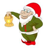Dwarf. Christmas dwarf, helper of santa is holding a lamp.  illustration on white background Stock Images