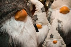 Christmas Dwarves Plush Toys Under Xmas Tree Royalty Free Stock Image