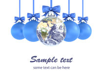 Christmas Earth. 3d illustration of world celebration of Christmas and New Year holidays Stock Photos