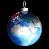 Christmas Earth ball. Earth ball on black background Royalty Free Stock Images