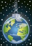 Christmas earth ball, vector Stock Photo