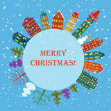 Christmas earth holiday background. Round Banner with trees, cartoon houses and snowman. Christmas planet city town card. Merry Christmas and Happy new year Royalty Free Stock Photo