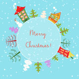 Christmas earth holiday background. Round Banner with trees, cartoon houses and snowman. Stock Photos