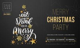 Merry Christmas party poster banner vector golden decoration snowflake New Year background Stock Images