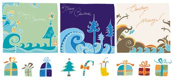 Christmas editable design elem. Vector set of design elements. Presets, tree, socks. and  template with space for text Royalty Free Stock Image