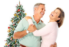 Christmas elderly couple Stock Photo